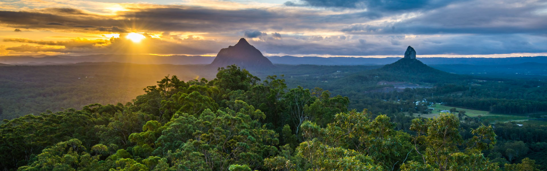 Image showing a sunset view of the Glasshouse Mountains
